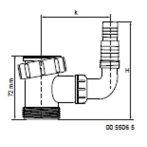 MCALPINE 5506 T-STUK TBV WAS-& AFWAS. + HAAKSE SLANGTULE