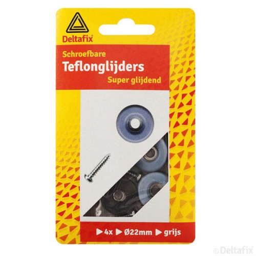 TEFLON GLIJDERS + SCHROEF GRIJS 22 MM 4 ST.
