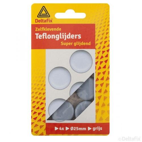 TEFLON GLIJDERS ROND GRIJS 25 MM 4 ST.