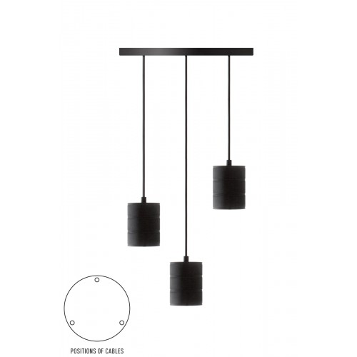 CALEX RETRO PENDANT WITH CEILING PLATE DIA 400MM, BLACK FITTINGS 3XE40