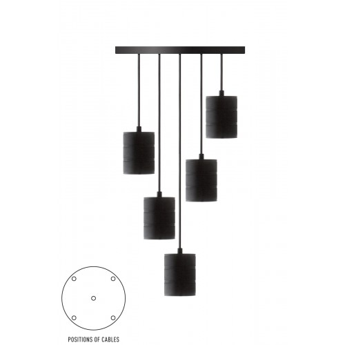CALEX RETRO PENDANT WITH CEILING PLATE DIA 400MM, BLACK FITTINGS 5XE40