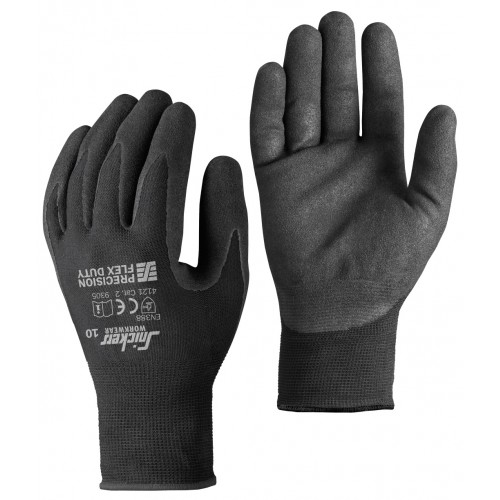 PRECISION FLEX DUTY GLOVES (PAAR), ZWART - ZWART (0404), 8