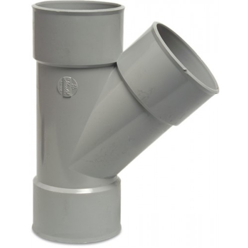 T-STUK 45° PVC-U 75 MM LIJMMOF GRIJS KOMO