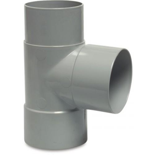 T-STUK 87° PVC-U 100 MM LIJMMOF X LIJMMOF X VERJONGING GRIJS