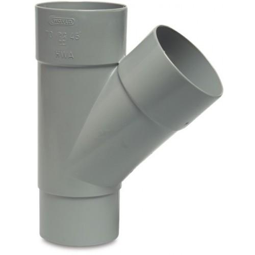 T-STUK 45° PVC-U 80 MM LIJMMOF X LIJMMOF X VERJONGING GRIJS