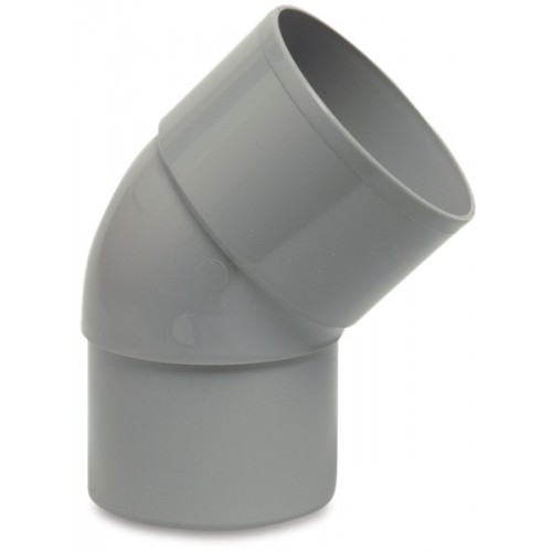 BOCHT 45° PVC-U 80 MM LIJMMOF X VERJONGING GRIJS