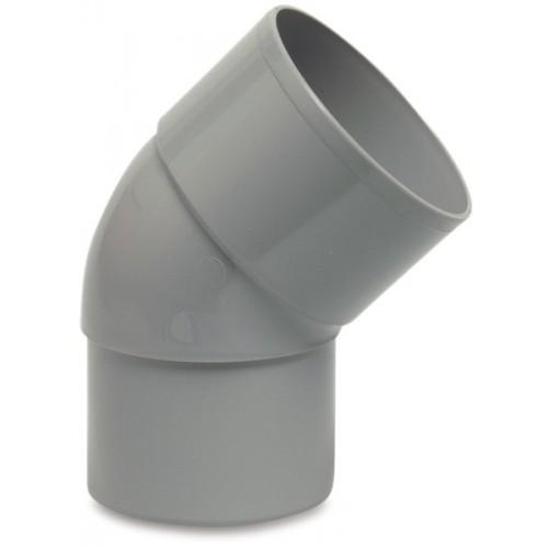 BOCHT 45° PVC-U 100 MM LIJMMOF X VERJONGING GRIJS