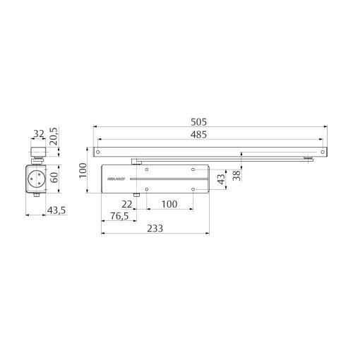 DC135-----DEV1- ASSA ABLOY DESIGN DEURDRANGER EN 3, INCLUSIEF GLIJARM,